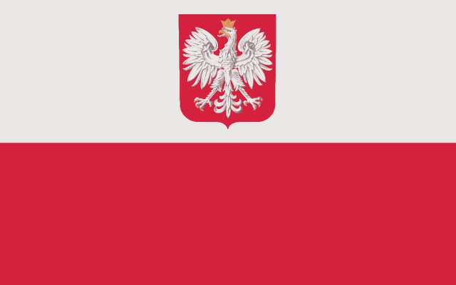flaga z godłem RP