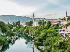 Mostar - panorama miasta z Mostu Pojednania
